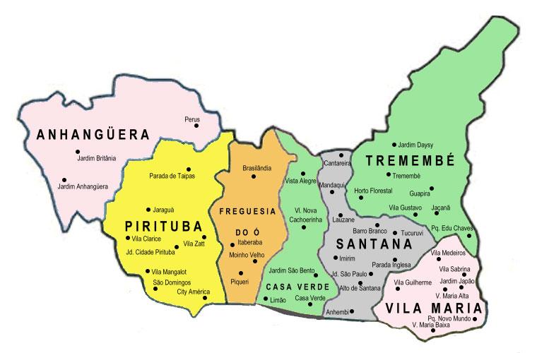 Artesanato Loja Curitiba ~ Mapa Zona Norte ZN de SP Encontra S u00e3o Paulo